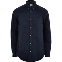 River Island Navy Wasp Embroidered Long Sleeve Shirt