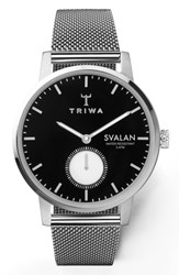 Triwa Ebony Svalan Mesh Strap Watch 34Mm Silver Black Silver