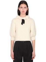 Red Valentino Ruffled Wool Blend Knit Sweater Ivory