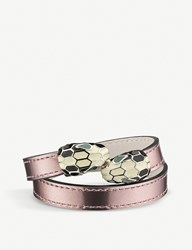 Bulgari Serpenti Forever Gold Plated And Leather Wrap Bracelet