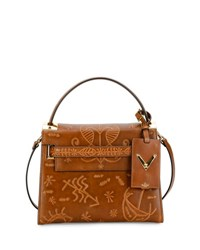 Valentino My Rockstud Small Santeria Embossed Satchel Bag Brown Medium Brown