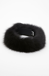 Dena Products Genuine Fox Fur Head Wrap Black