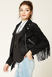 Forever 21 Faux Suede Tasseled Moto Jacket