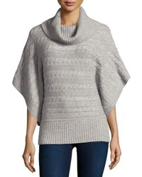 Neiman Marcus Cashmere Cable Knit Banded Hem Poncho Heather Gr