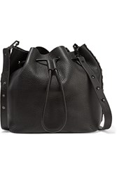 Rebecca Minkoff Studded Textured Leather Bucket Bag Black