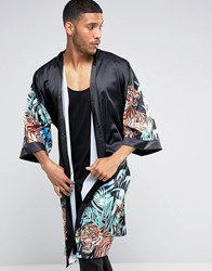 Jaded London Kimono With Floral Tiger Print Black
