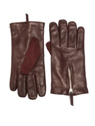 Want Les Essentiels Mozart Leather And Suede Zip Gloves Burgundy Dark Brown