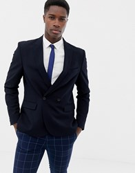 Only And Sons Double Breasted Suit Jacket Dark Navy