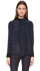 Victoria Beckham Long Sleeve Drape Front Top Navy Black