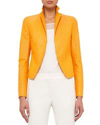 Akris Punto Leather Notch Collar Jacket Tangerine Orange Women's Size 6