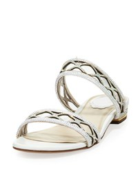 Rene Caovilla Crystal Embellished Two Band Flat Sandal Slide White