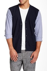 Shades Of Grey Woven Sleeve Cardigan Blue