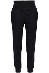 Theory Wool Blend Flannel Track Pants Navy