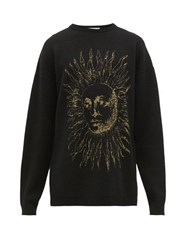 Givenchy Astral Sun Jacquard Knitted Wool Blend Sweater Black Gold