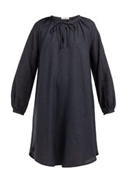 Denis Colomb Gathered Neck Linen Dress Navy