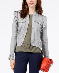 Inc International Concepts Ruffled Linen Jacket Created For Macy's Grey