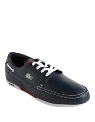Lacoste Dreyfus Leather Boat Shoes Blue White