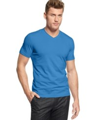 Alfani Red Fitted V Neck T Shirt Azure Lake