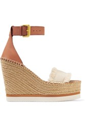 See By Chloe Fringed Canvas And Leather Espadrille Wedge Sandals Cream