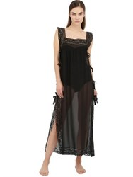 Loretta Caponi Silk Georgette And Lace Night Gown