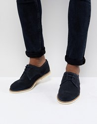 Hudson H By Andover Suede Lace Up Shoes In Navy
