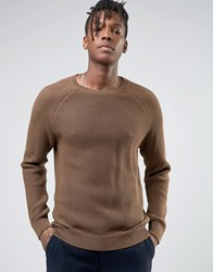 Selected Homme Crew Neck Waffle Knit With Raglan Sleeve Brown