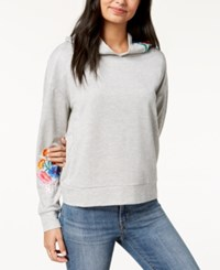 Almost Famous Juniors' Floral Embroidered Hoodie Grey