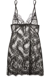 Coco De Mer Aglaea Cutout Satin Trimmed Stretch Leavers Lace Chemise Black