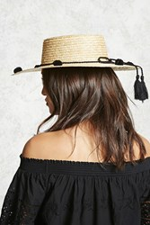 Forever 21 Pom Pom Straw Boater Hat Natural Black