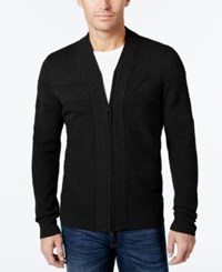 Alfani Men's Big And Tall Full Zip Shawl Collar Cardigan Sweater Deep Black