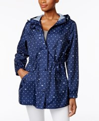 Charter Club Petite Printed Packable Hooded Utility Raincoat Only At Macy's Intrepid Blue Combo