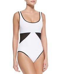 Karla Colletto Scoop Neck Swimsuit W Geo Panels White Black