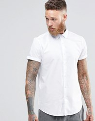 Asos Oxford Shirt In White With Short Sleeves In Regular Fit White