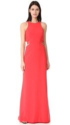 Halston Heritage Round Neck Gown With Back Cutout Poppy
