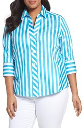 Foxcroft Plus Size Women's Awning Stripe Non Iron Cotton Shirt