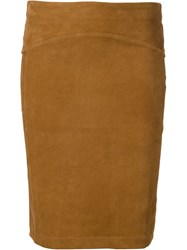 Getting Back To Square One Suede Pencil Skirt Brown
