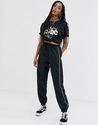 Daisy Street Relaxed Cuffed Joggers With Diamante Trim Black