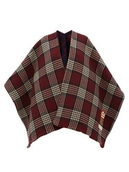 Gucci Reversible Check And Gg Jacquard Wool Poncho Red Multi
