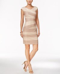 Jax Textured Metallic Sheath Dress Ivory Beige