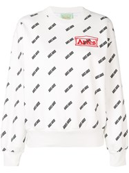 Aries Logo Print Sweatshirt White