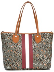 Bally Stripe Detail Tote Bag Grey