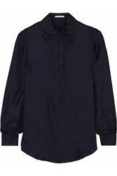 Carven Modal And Silk Blend Top Blue