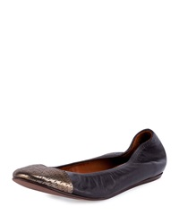 Metallic Cap Toe Ballet Flat Anthracite Black Lanvin