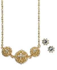 Charter Club Gold Tone 2 Pc. Set Crystal Filigree Pendant Necklace And Crystal Stud Earrings Gold Cryst