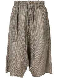 Forme D'expression Printed Drop Crotch Shorts Brown