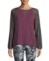 The North Face Vision Mesh Long Sleeve Pullover Top Purple Gray
