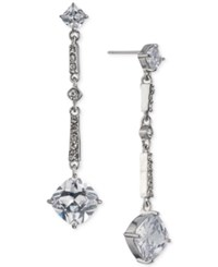 Carolee Silver Tone Cubic Zirconia Linear Drop Earrings Lt White