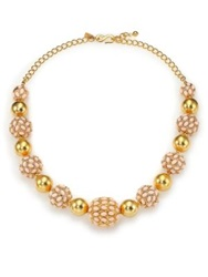 Kenneth Jay Lane Cabochon Cluster Beaded Strand Necklace Gold Pink