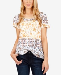 Lucky Brand Printed Zip Back T Shirt Red Multi