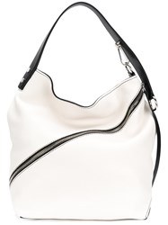 Proenza Schouler Medium Pebbled Leather Hobo Calf Leather White